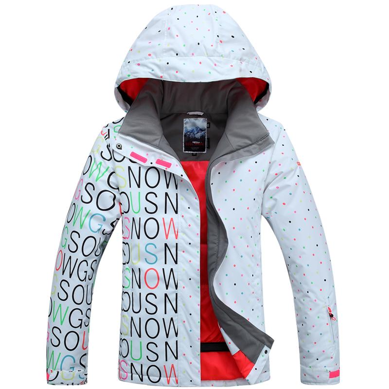 BNWT womens winter waterproof snow ski coats snowboard jacket Windproof letter polka dot size XS S M L(China (Mainland))
