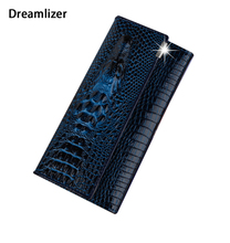 3 Fold Genuine Leather Women Alligator Wallet 13 Color Hasp Crocodile Head Female Clutch Brand Carteras Purse Wallet Women