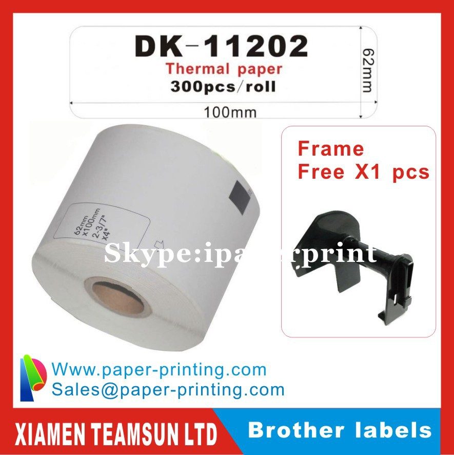 18 x Rolls Brother Compatible Labels DK-11202 DK 11202 DK11202 62 x 100mm Thermal paper sticker Shipping label 62 x 100mm(China (Mainland))