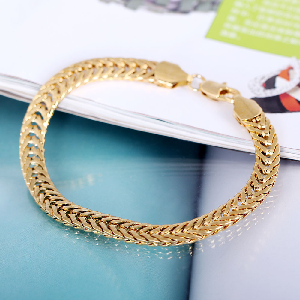 Free Shipping Fashion 18K Gold Plated Men Thick Solid Color Chain Bracelet 2015 Hot New