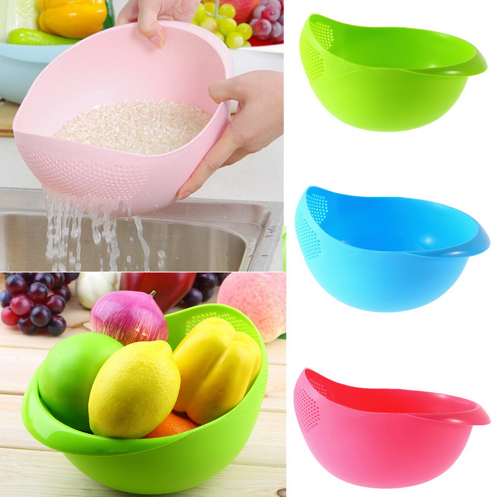 Super practical Creative fashion Plastic wash rice Colander Strainer Sieve bright kitchen plastic drain vegatable basket