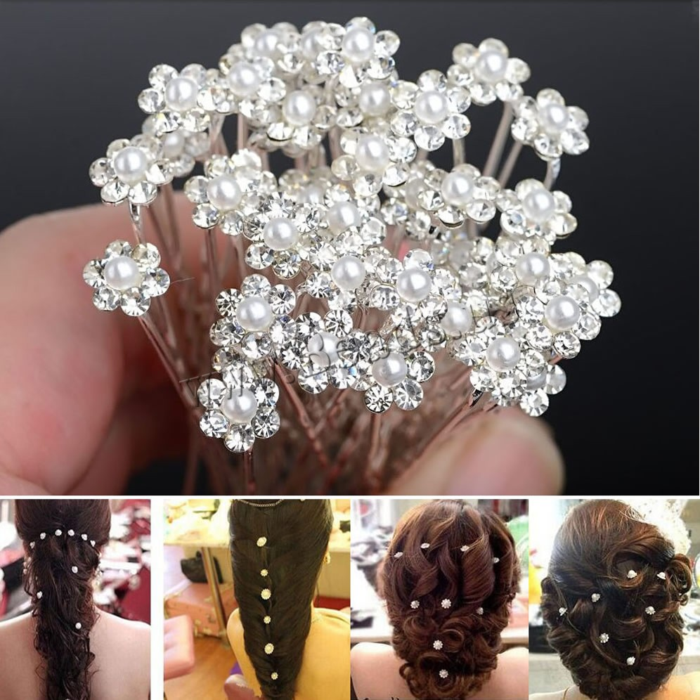 Wholesale 20Pcs/Lots Wedding Bridal Bridesmaid Pearl Flower Hair Pin Clips U Pick Jewelry Party Accessories Hair Pins Flower(China (Mainland))
