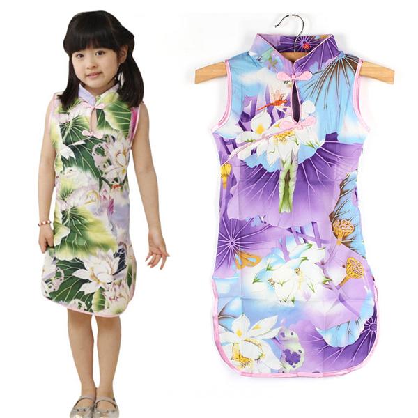 Hot New 2015 Style brand Child Kid Baby Girl Cute Chinese Peacock Cheongsam Dress/Qipao Baby Costumes kids clothes girls dresses(China (Mainland))