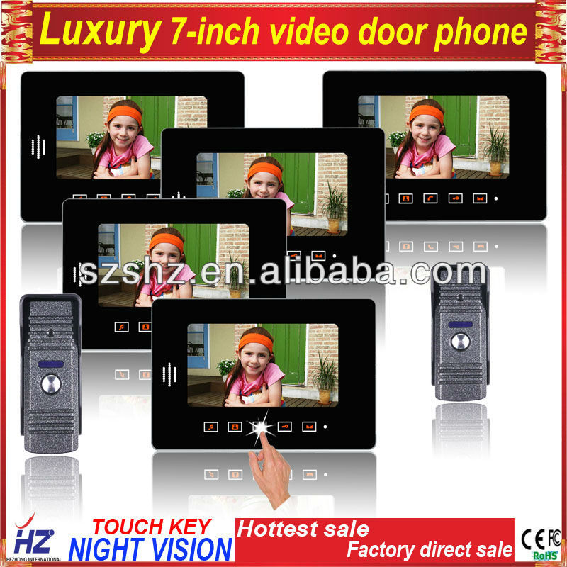 Luxury 7'' touch key wired color video door phone , two camera with five monitors(China (Mainland))