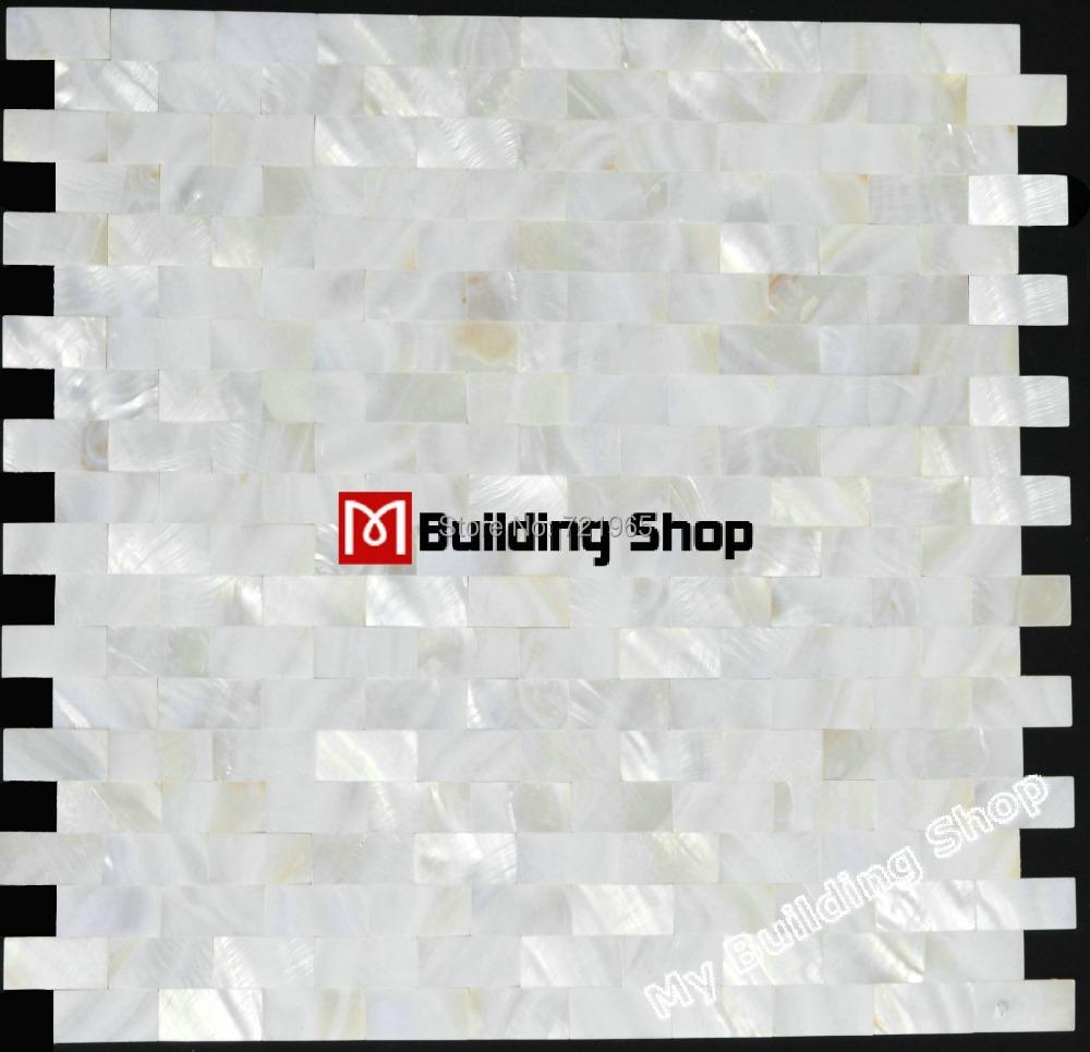 Mother of pearl tile sea shell mosaic kitchen backsplash tiles MOP008 brick shell mosaic for bathroom wall flooring tiles(China (Mainland))
