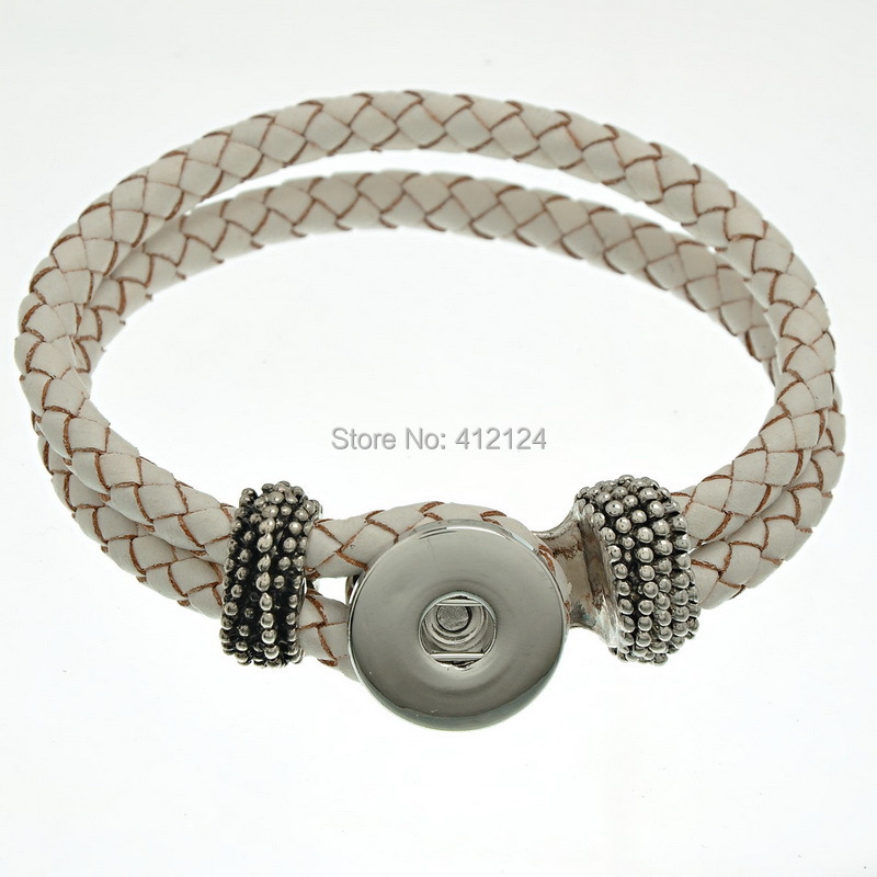 25 Wholesales Fashion Bracelet Braided Rope DIY Real Leather Fit Snap Press Button White 22cm<br><br>Aliexpress