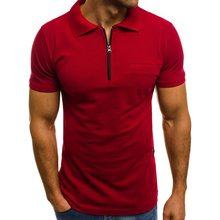 SHUJIN 2019 Men's Casual Summer Solid Short Sleeve Shirt Lapel Slim Zipper Shirt Pockets Basic Lapel Tops(China)