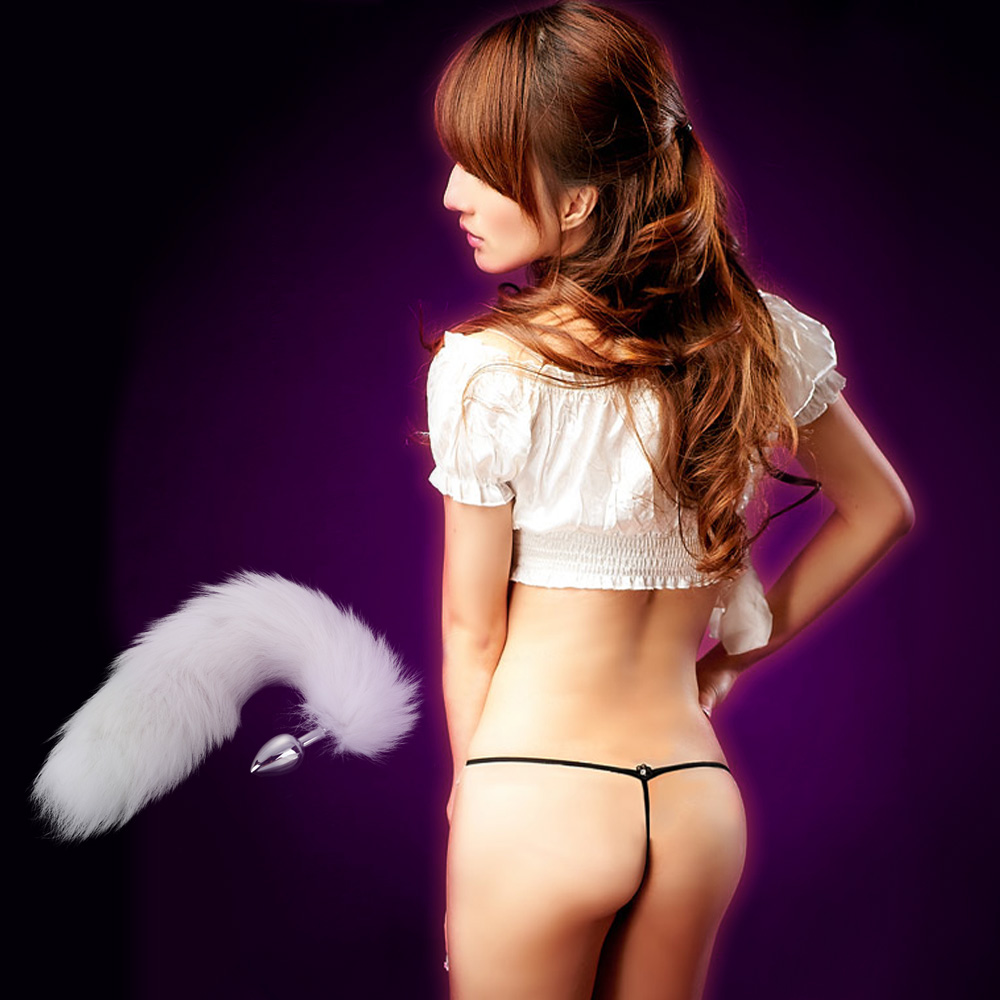 White False Fox Tail Style Stainless Steel Butt Anal Plug Silver Sexy Romance Flirt Funny Adult Product Sex Toy(China (Mainland))