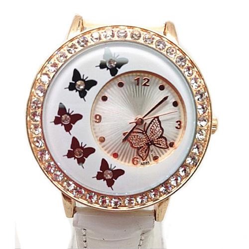2015 Hot Fashion Women's Crystal Rhinestone Butterfly Pattern Crystal PU Leather Band Quartz Wrist Watch Dress Watches(China (Mainland))