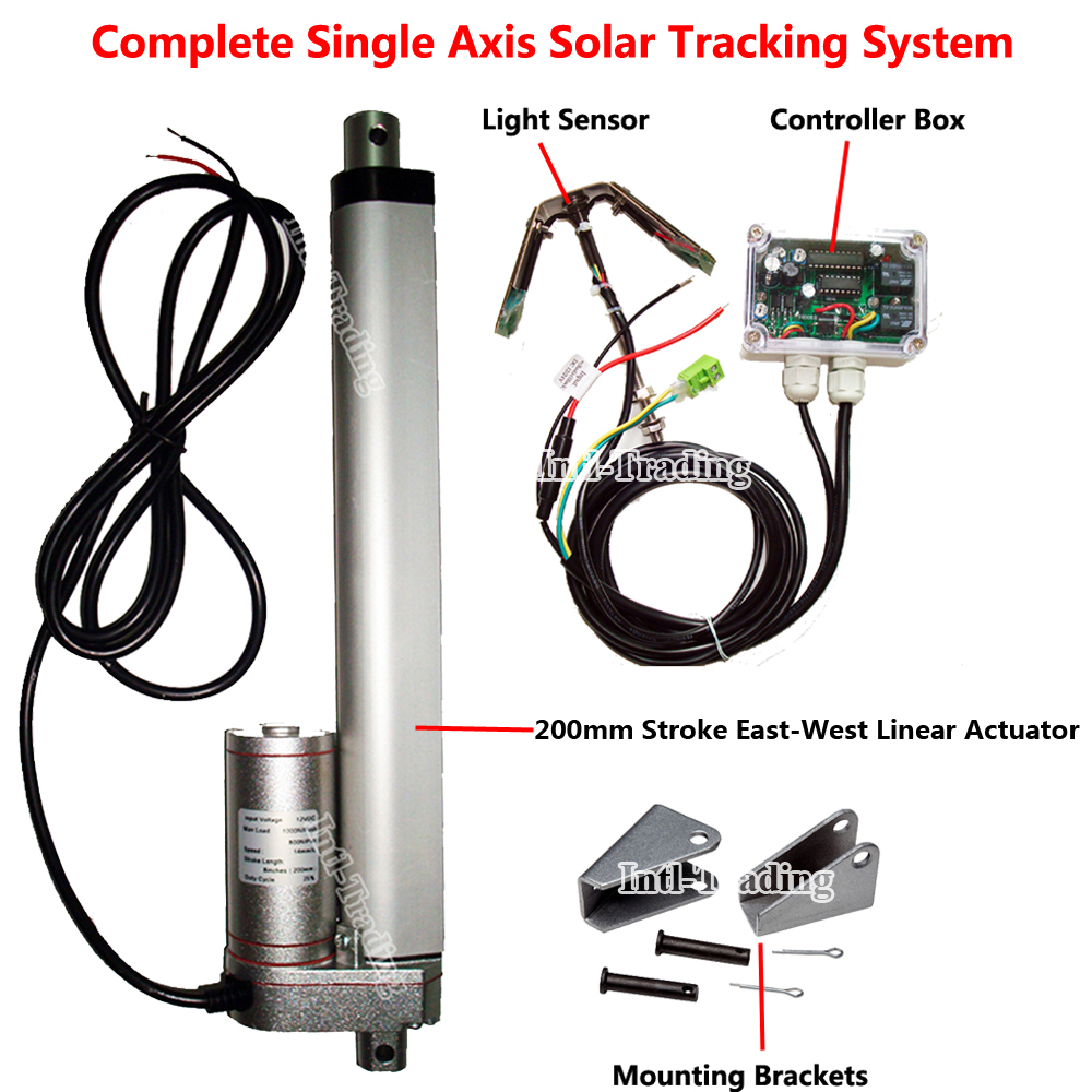 """200mm 8"""" Stroke DC 12V Linear Actuator &Electric Controller for DIY 1KW Single Axis Solar Panel Tracker Sunlight Tracking System(China (Mainland))"""