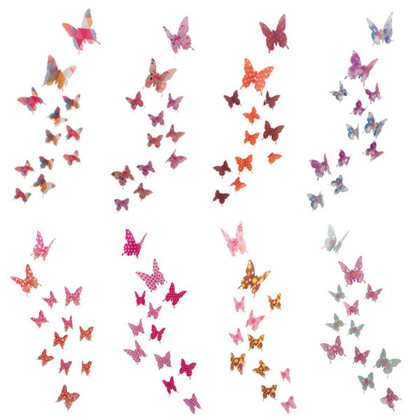 12pc 3D Butterfly Wall Stickers Decals Home Decor DIY Art Butterflies Sticker Home Wedding Decoration for Kids Rooms Living Room(China (Mainland))