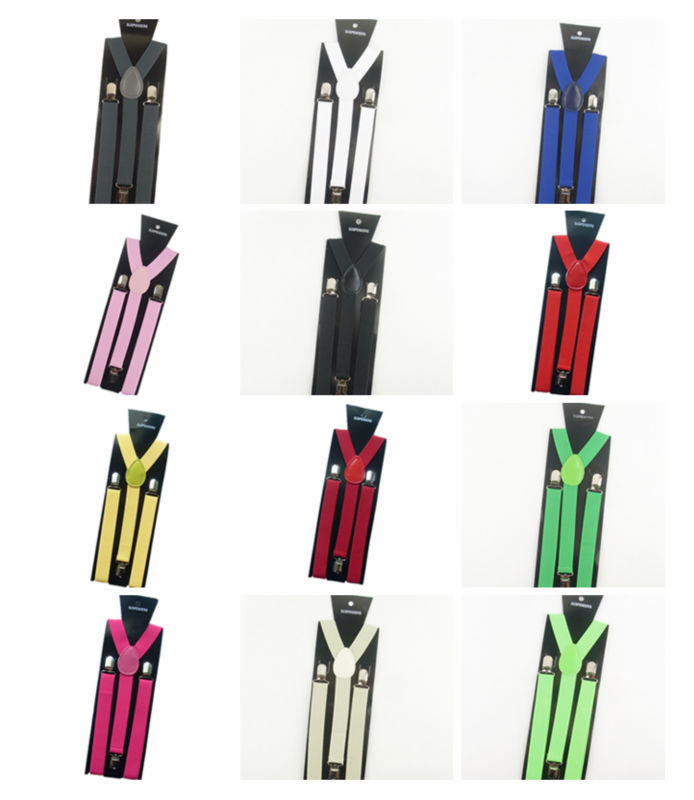 2015 New Mens Womens Unisex Clip-on Suspenders Elastic Y-Shape Adjustable Braces Colorful Free Shipping for female male
