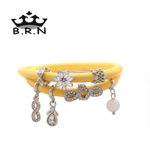 Newest Light Yellow Sheepskin Leather Bracelet Magnetic Double Layers Endless Story Charms Bracelet with 7Pcs Silver Charms 1Set(China (Mainland))
