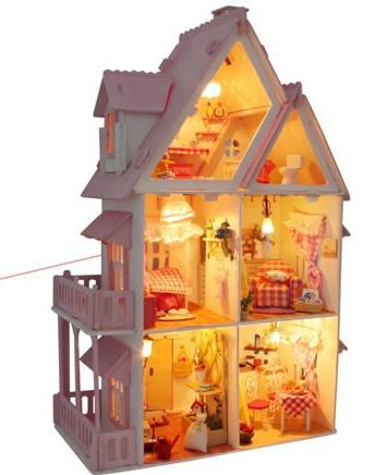 Diy wood model dollhouse doll houses handmade gift room 3D PUZZLE toys 1:18 miniature &Assembling the demo video(China (Mainland))