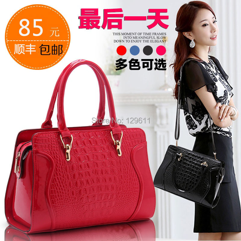 free shipping Autumn and winter women's handbag japanned leather crocodile pattern red bags bridal bag smiley bag totes()