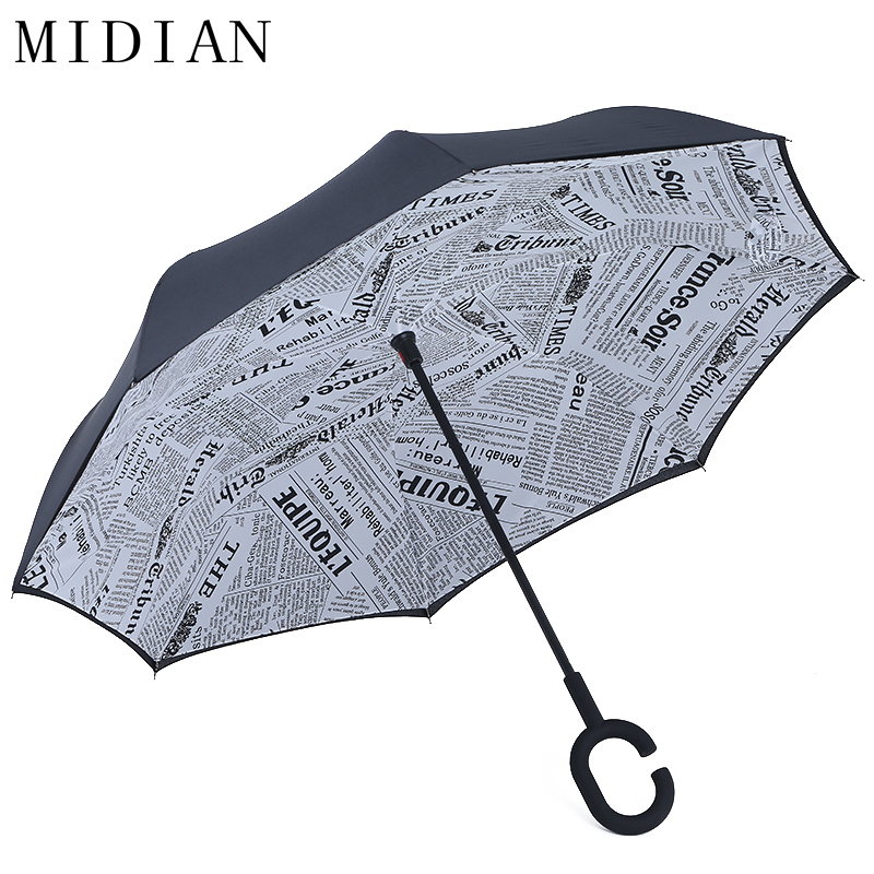 MIDIAN Double Layer Self Standing Car Inverted Umbrellas Letter Windproof Rain UV Protection Inside Out Umbrella C-Hook Handle(China (Mainland))