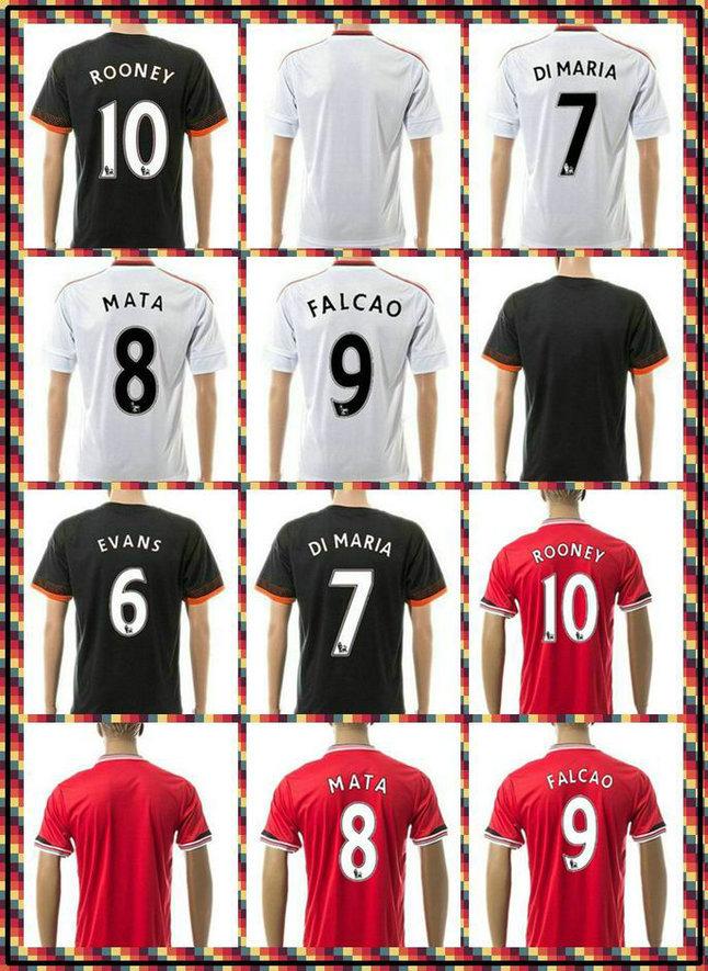 Customize! Newest thai FALCAO v.Persie Januzaj Di Maria Rooney White red black 2015-2016 Soccer Jersey Full Shirt(China (Mainland))