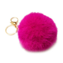 8 CM Genuine rex Rabbit fur bola chaveiro anel chave Do Carro chaveiro Saco Pendente de pele pom fofo(China)
