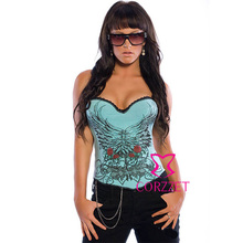 Training Suit Women Ladies Corpetes 2014 Sexy Corselet Green Overbust Cotton Gothic Corset Tops With Wings & Rose Pattern S-XXL