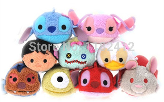 Tsum Tsum Mini Lilo and Stitch Plush Toys Hawaii Angel Leroy Scrump Ugly Duckling Cute Soft Smartphone Screen Cleaner Kids Gifts(China (Mainland))