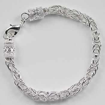 Hot Sale ! Byzantine Bracelet In 925 Sterling Silver, Free shipping, Wholesale Price