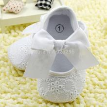 White Bowknot Baby Girl Lace Shoes Toddler Prewalker Anti Slip Shoe Simple Baby Shoes
