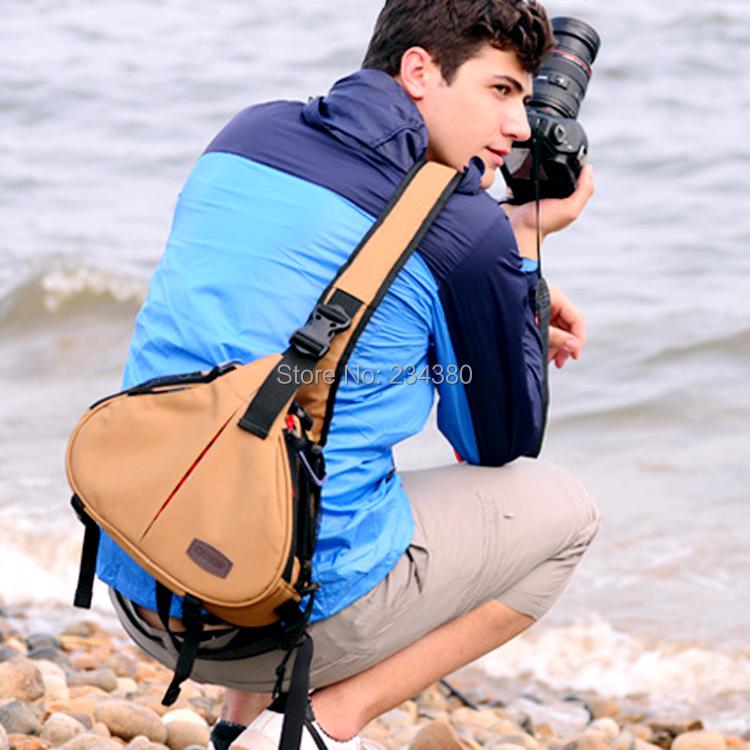 Caden K1 Waterproof  Shoulder Camera Bag Triangle Carry Case for Canon 5D2 5D3 6D 7D 60D 70D for Nikon D800 D750 D7200 D90  D610