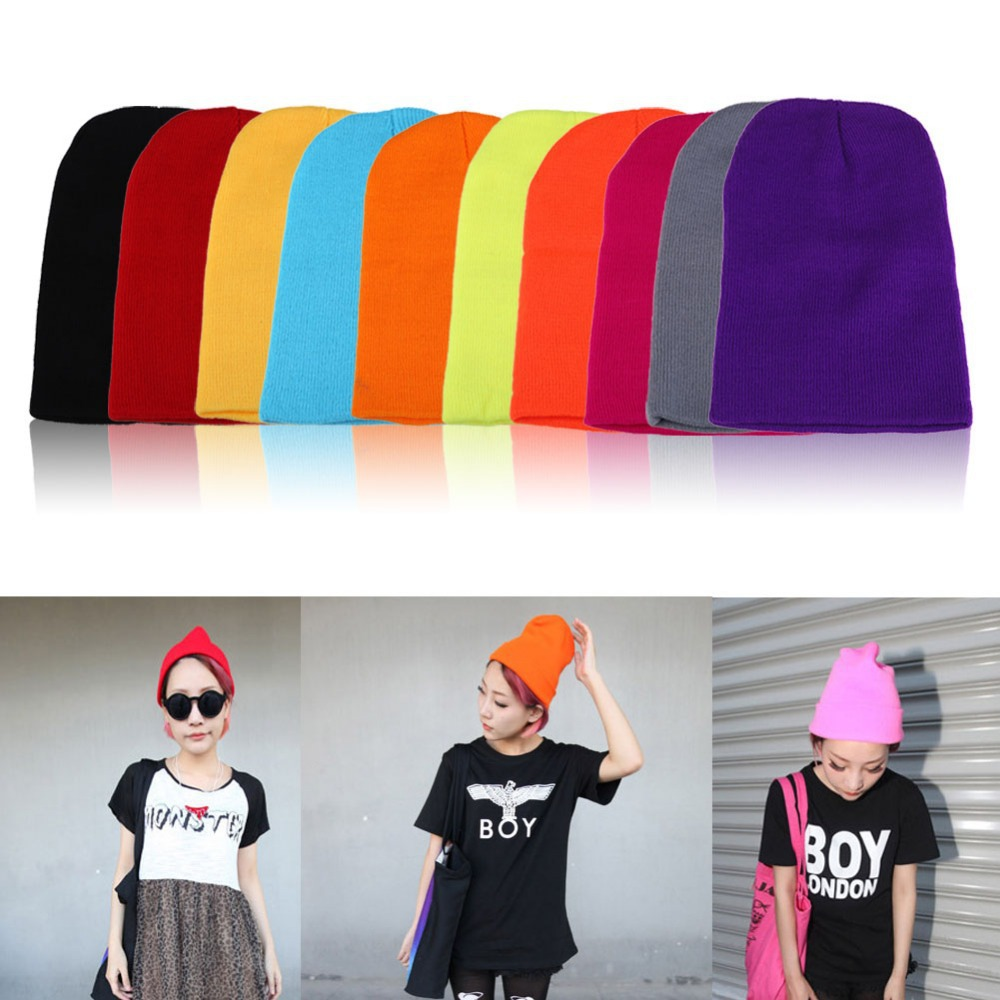 Men s Women Beanie Knit Ski Cap Hip Hop Color Winter Warm Unisex Wool Hat ME3L