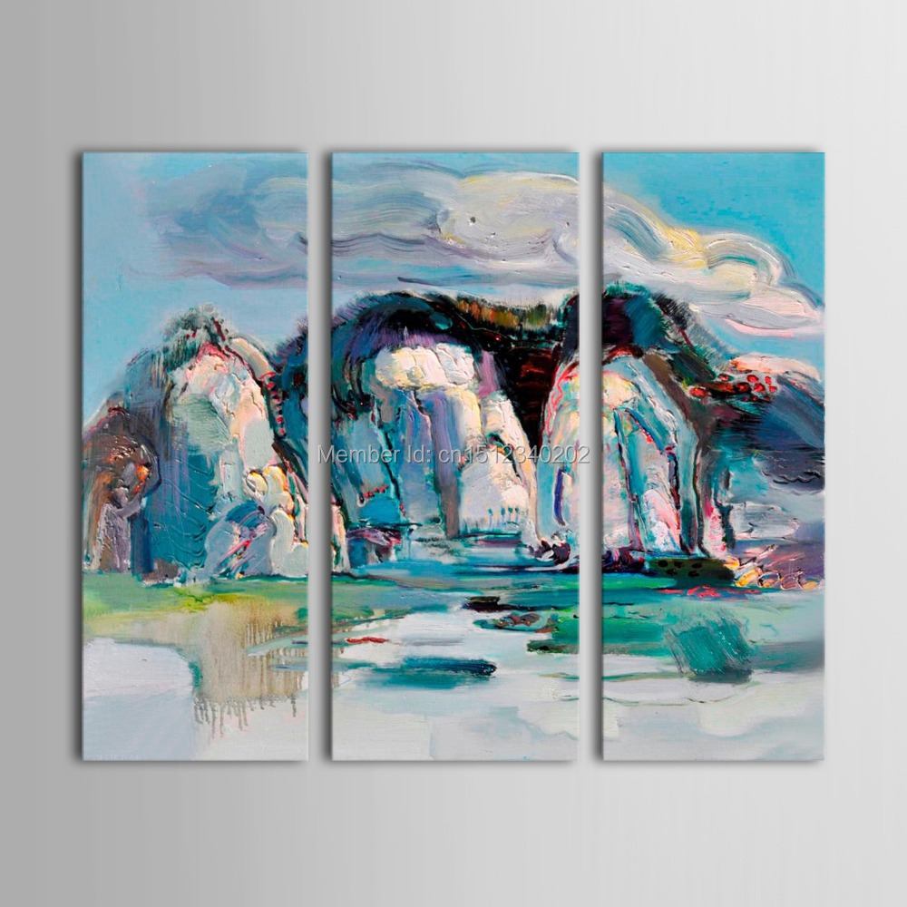 Artist directly Artwork hand painted modern abstract stone mountain landscape canvas paintings blue wall decor picture t3p7(China (Mainland))