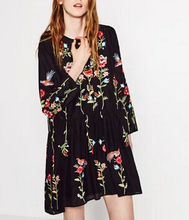 Buy 2017 women vintage long sleeve flower floral embroidery black dress elegant vestidos casual loose round collar ruffle dresses for $22.79 in AliExpress store