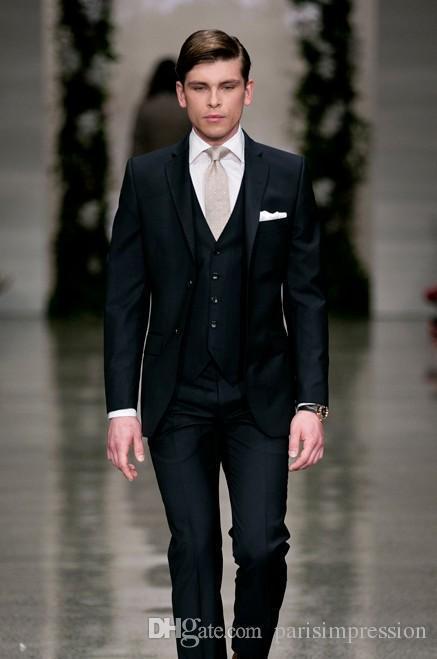 Здесь можно купить  2015 New Arrival men suits slim fit navy blue wedding suits for men 3 Pieces groomsmen suits notched lapel two buttons men tuxed  Одежда и аксессуары