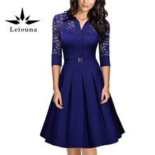 Buy Leiouna 2017 New Style Summer Autumn European Perspective Hollow Lace Sexy Woman Club Floral Dress 3/4 Sleeve Party Work for $23.46 in AliExpress store