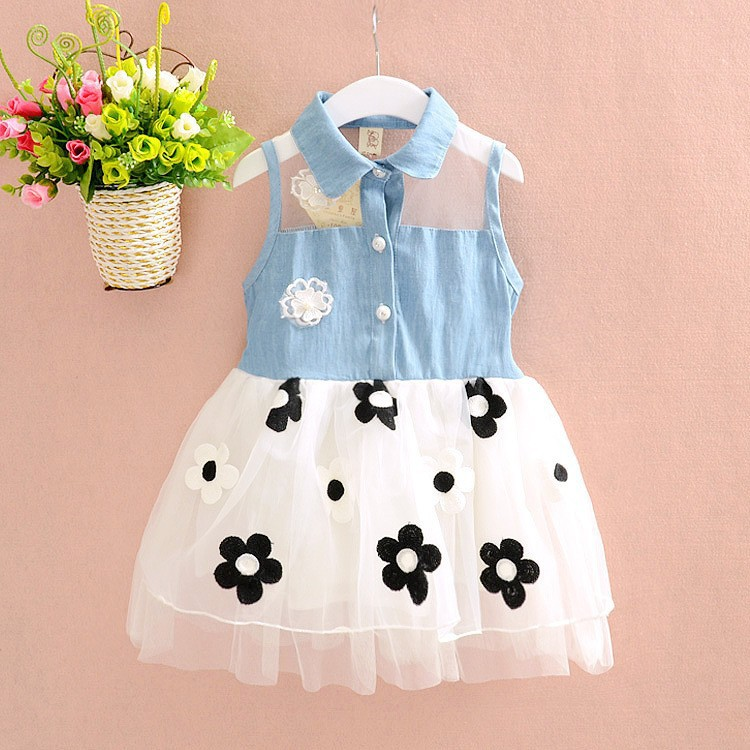 1~4T 2015 Summer Sleeveless Girl Dress Patchwork Denim Tulle Dress for Girls Casual Kids Dress Vestidos(China (Mainland))