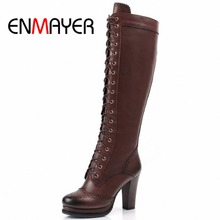 ENMAYER Winter Boots Shoes Woman High Quality Sexy Women Thigh High Boots Lace Up Knee Boot High Heel Retro Knight Boots(China (Mainland))