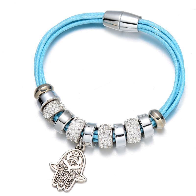 Fashion Shambala Beaded Wrap Bracelets&Bangles Rope Multilayer Chain Crystal Hamsa Charm Magnet Bracelets Amp Bangles For Women(China (Mainland))