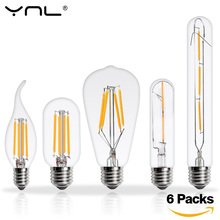 Buy 6pcs Lampada LED Edison Bulb E27 E14 220V 2W 4W 6W 8W Bombillas LED Filament Lamp Vintage Antique Retro Candle Glass Light for $6.49 in AliExpress store