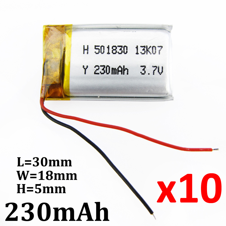 10 x pcs 3.7V 230mAh battery 501830 Lithium Polymer Li-Po Rechargeable Battery For Mp3 MP4 MP5 GPS PSP Pocket E-books bluetooth(China (Mainland))