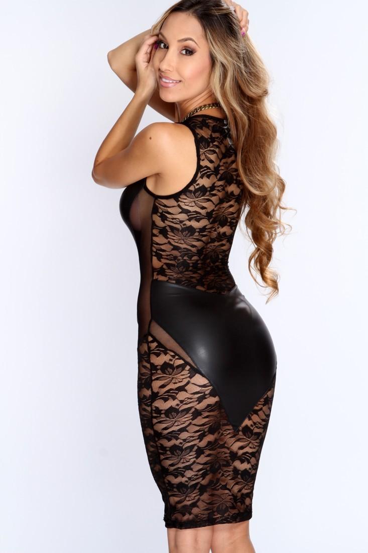 black leather club dress