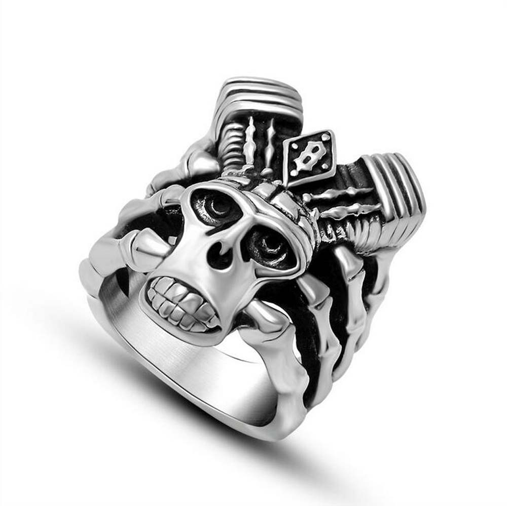 Men's 316L Stainless Steel Ring Band Black Silver Skull Skeleton Dragon Head Hand Bones Gothic Band Ring Size 7,8,9,10,11,12(China (Mainland))