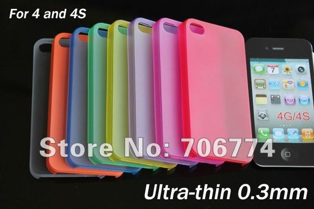 Ultra-thin 0.3mm Matte Plastic Case For Iphone 4S and 4 via EMS 200pcs/lot