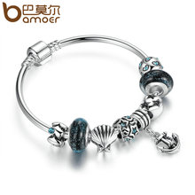 BAMOER Vintage Summer Collection Silver Plated Black Glass Beads Anchor Pendant Charms Bangles Women Fashion Jewelry PA3813(China (Mainland))