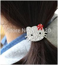 TS105 mix wholesale hot 2016 New Hello Kitty Korean Fashion Rhinestone Hair Rope Korean Hair Accessories Rubber Band for women