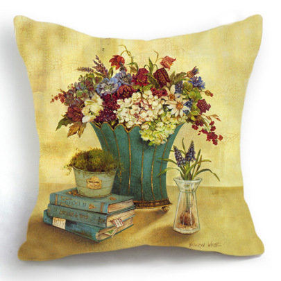 Retro Vintage Flower Book Home Decor Decorative Throw Pillow Case Cushion Cover Sofa Coussin Almofada Car Cojines Decorativos
