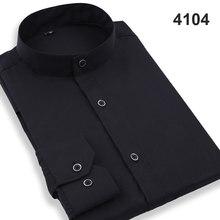Col Mandarin hommes chemises classique à manches longues marque formelle affaires mode robe chemises blanc noir col montant chemises(China)