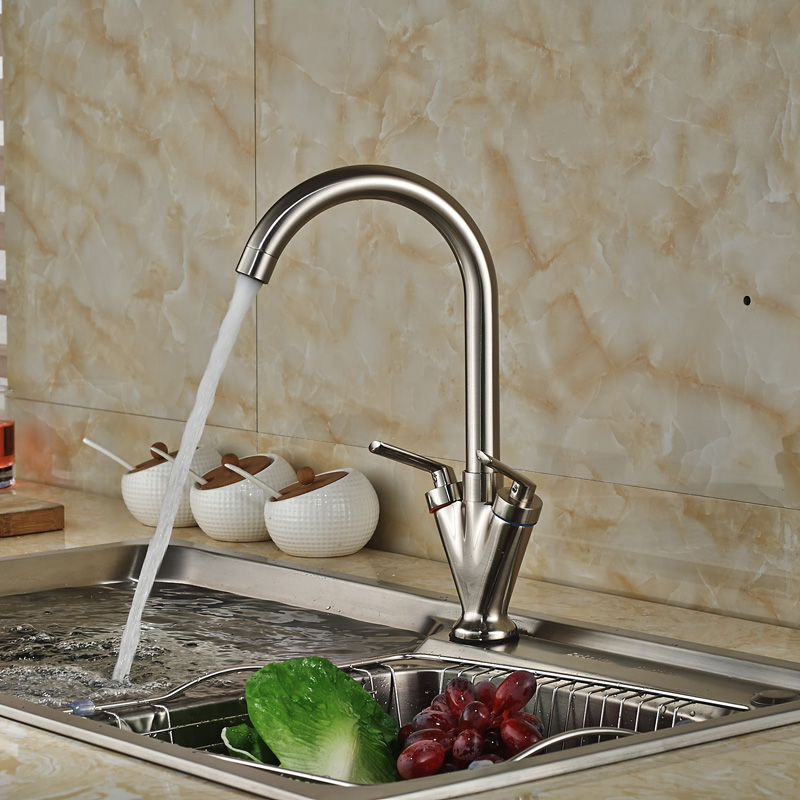 Здесь можно купить  Brushed Nickel Dual Handle Rotation Kitchen Mixer Taps Deck Mount One Hole Hot Cold Water Faucet Deck Mount  Дом и Сад