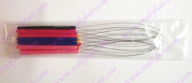 Freeshipping 12 pieces pack plastic hanle pulling loop threader micro ring tools Nano ring font b