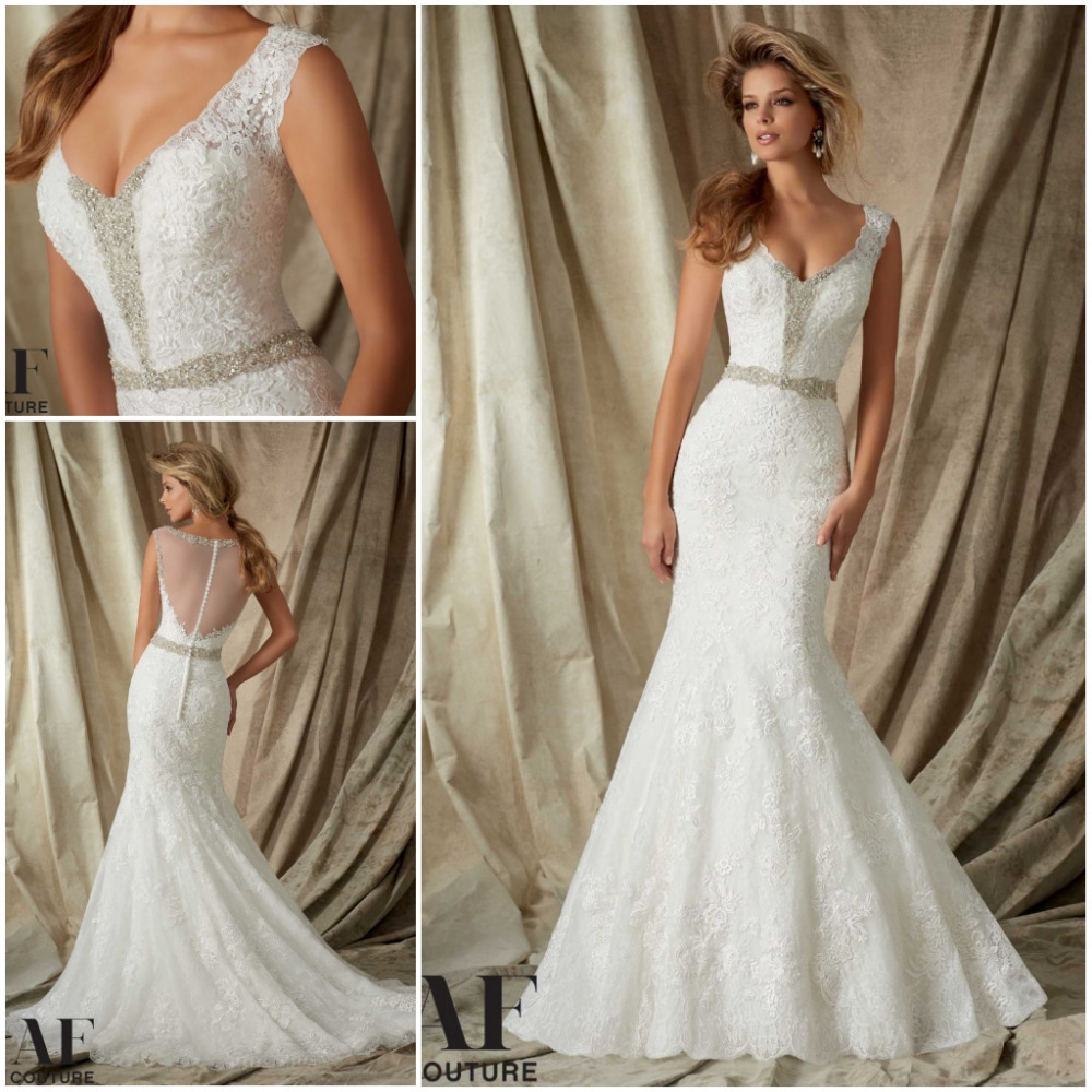 New Sexy V Neck Beaded Lace Wedding Dress 2015 Court Train