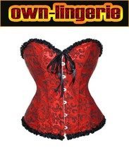 red flora shaper ladies sexy corset with lingerie flower cotton corset bow ruffle corset w3113