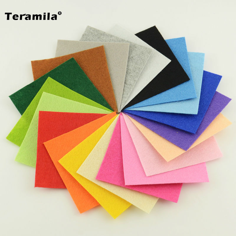 New Arrivals Pure Color 100%Polyester Nonwoven Felt Fabric DIY Felt Fabric Pack for Flower Bag Doll 1.0MM Thick 15x15CM Teramila(China (Mainland))