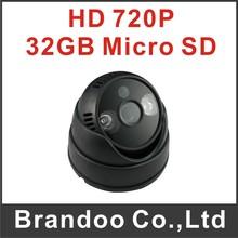 Free shipping 720P HD CCTV camera, 32GB sd card memory auto recording, 2 array LED for night vision(China (Mainland))